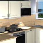 Zukünftiger Blick in die Wohnküche eines Appartements in Mikkelvik Brygge (Abb. ähnlich)